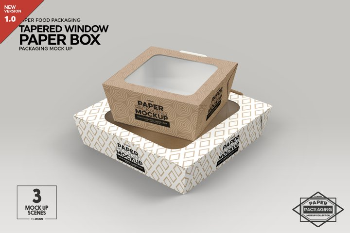 Paper Tapered Window Boxes Packaging Mockup