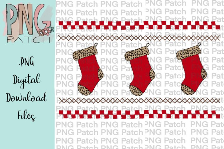 Leopard Print Mock Faux Smocked Stockings, Christmas PNG Fil