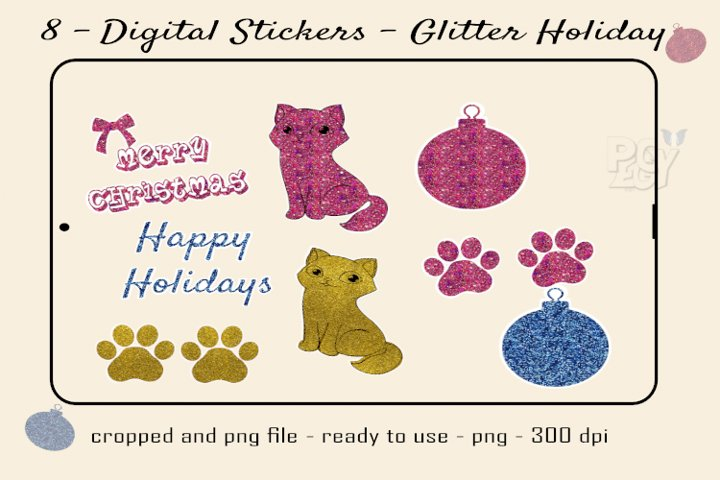 Digital Stickers Glitter for Holidays