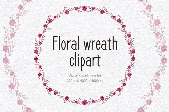 Summer watercolor wreath png