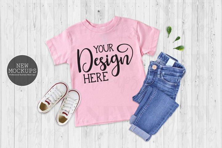 Pink Bella Canvas 3001T Kids Shirt, Flat Lay Toddler Mockup