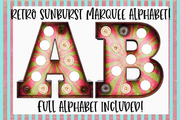 Retro Sunburst Marquee Sublimation Digital Download
