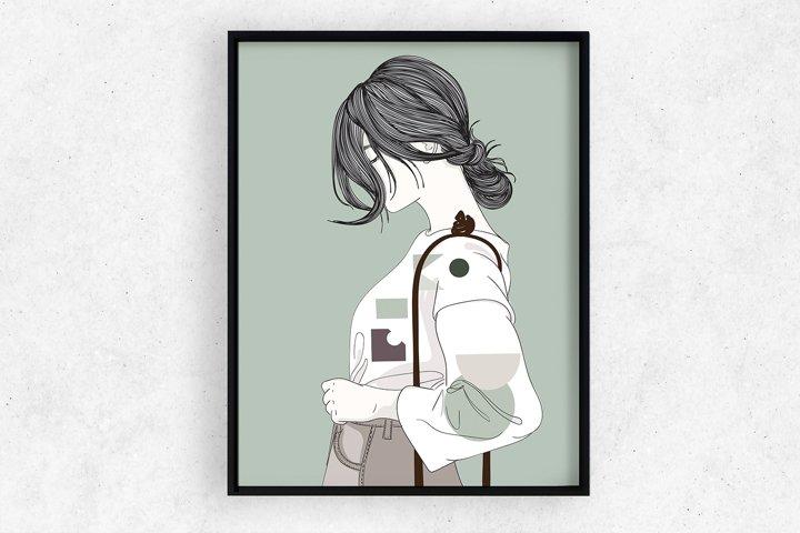 Art Print   Wall art Girl fashion,Minimalist Artwork