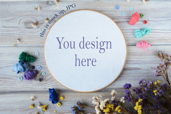 Embroidery Hoop Mockup for Cross Stitch Pattern JPG