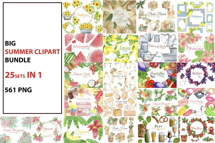 Big Summer Watercolor Clipart Bundle. Boho Tropical Clipart.