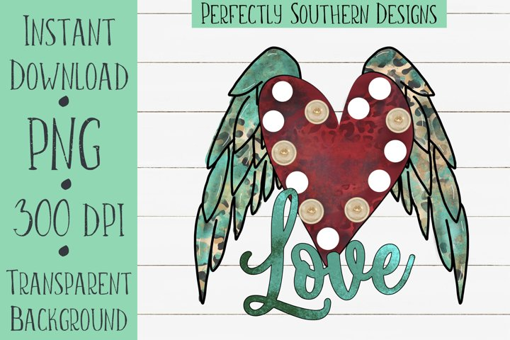 Turquoise Love Wings - Sublimation Design