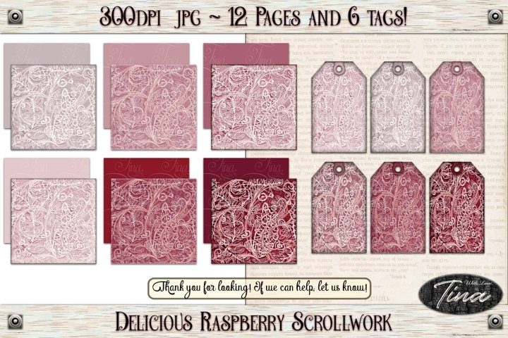 Delicious Raspberry Scrollwork Red Pink Papers and Tags