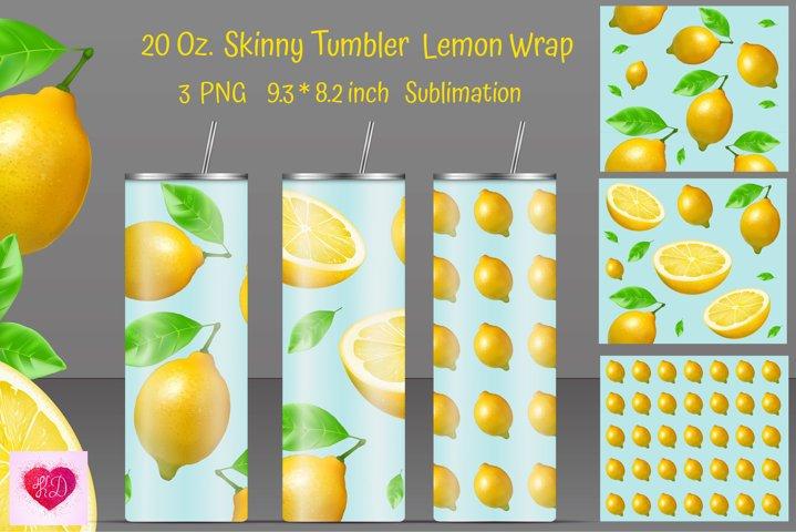 Skinny Tumbler Sublimation. Lemon Tumbler Design. 20 oz.