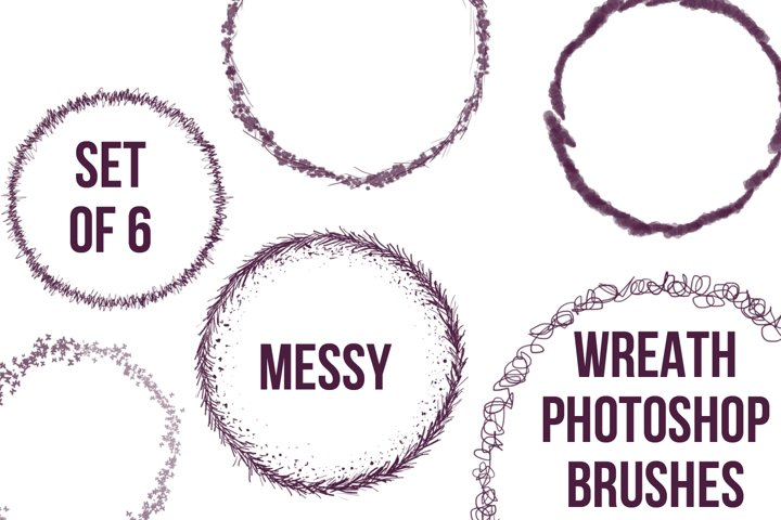 Set of 6 Wreath Photoshop Brushes