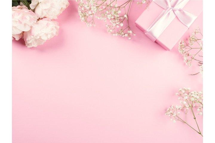 Pink pastel delicate invitation, greeting card, wedding
