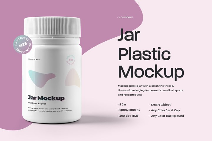 5 Mockups Plastic Jar For Cosmetic and Medical Products