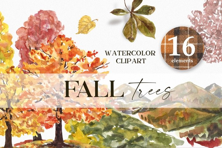 Fall trees clipart Watercolor Autumn Tree Hills Mountains