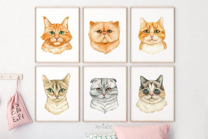Set of 6 Watercolor Cats Prints, Animal Wall Decor