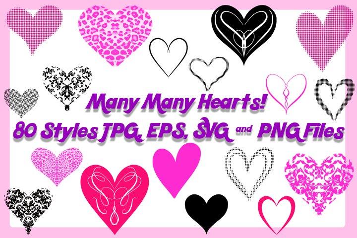 80 Valentine Love Hearts Collection ESP, JPG, PNG, SVG