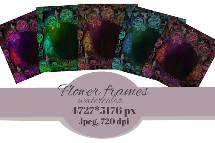 Abstract decorative floral frames. Watercolor flower cards