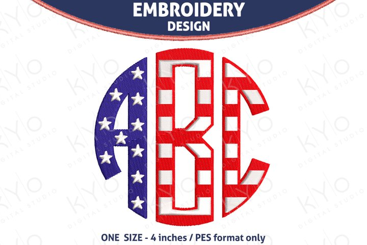 American flag Monogram embroidery font PES files