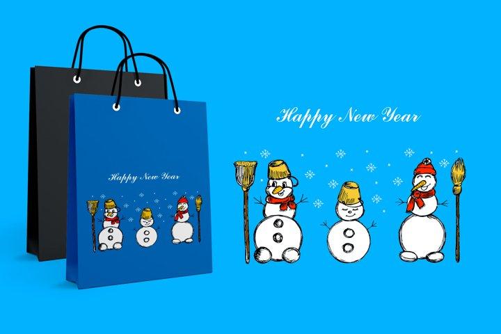 Three snowmen. Snowflakes. Winter illustration