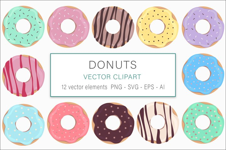 Sublimation clipart Donuts Vector