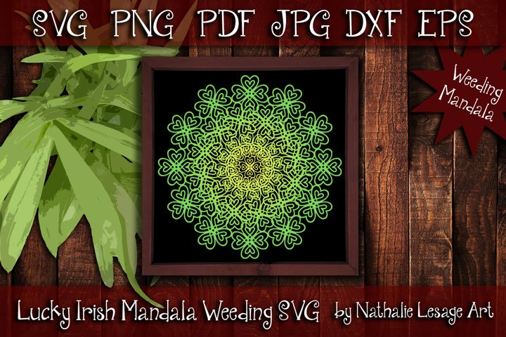 Lucky Irish Mandala SVG St Patricks 4 Leaf Clover Weeding