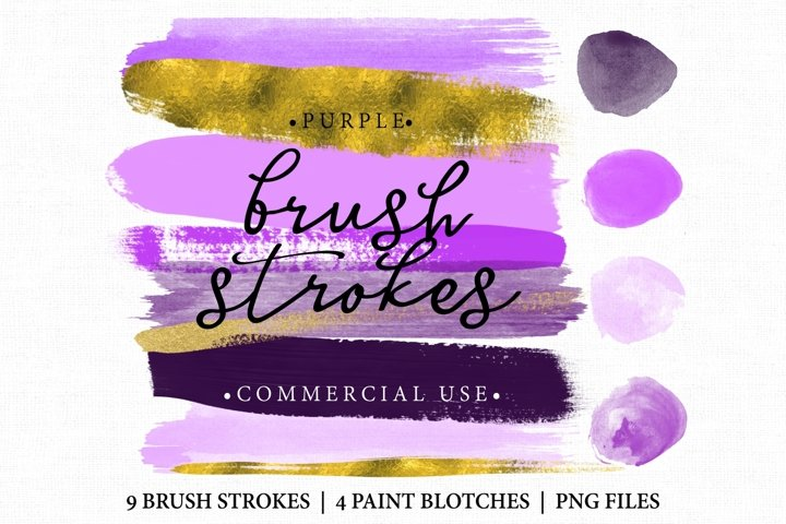 Brush Stroke Clip art. Brush Strokes Purple and gold. Digital brush strokes and paint blotches 13 altogether