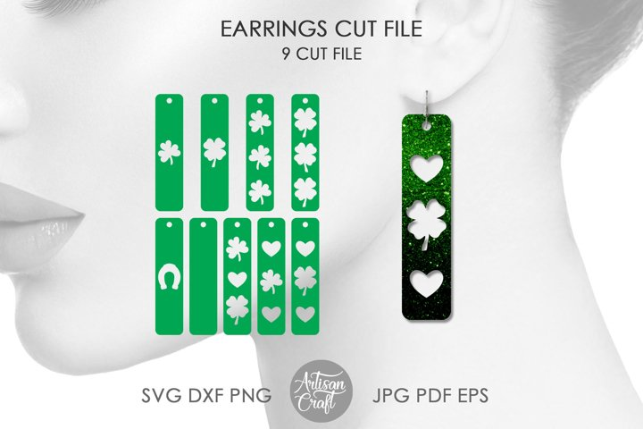 St Patricks day earrings SVG, Bar earrings