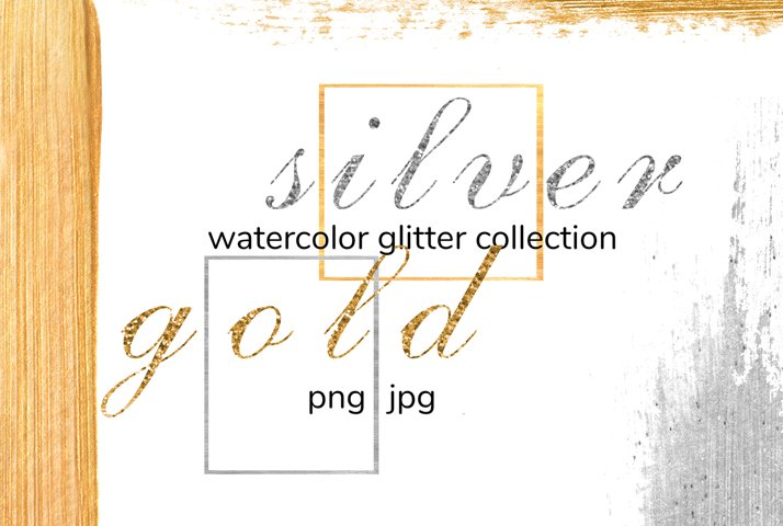 Watercolot metallic glitter clipart - Gold and silver frame