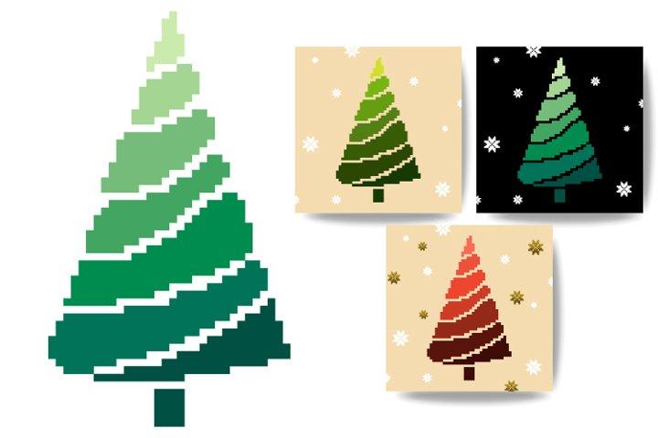 Christmas cards, tree. Pixel art 8 bit.