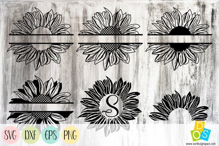 Sunflower Split Monogram SVG, PNG, DXF and EPS bundle