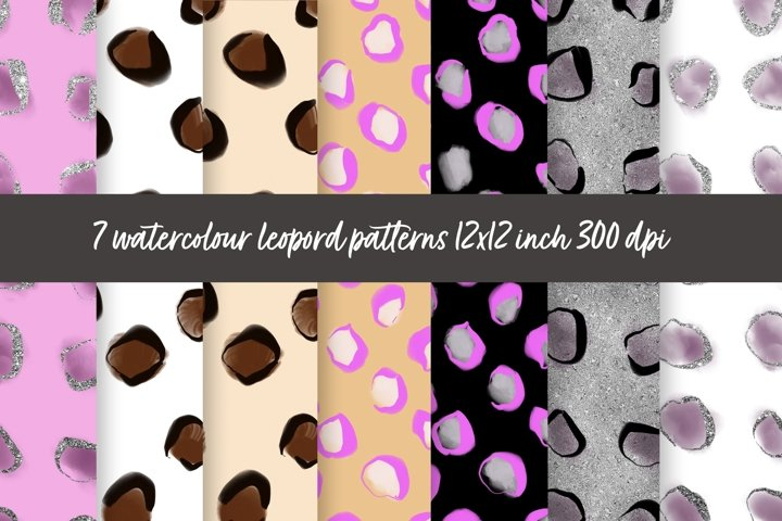 Leopard patterns digital paper hand drawn with watercolour