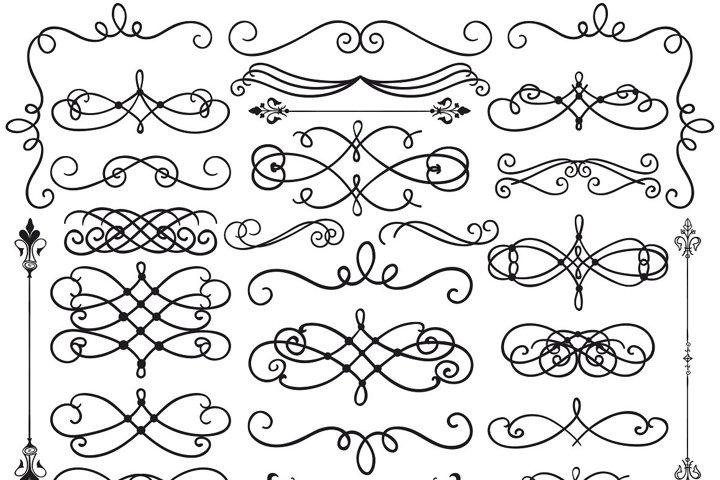 Hand Drawn Black Doodle Design Elements. Decorative Swirls.