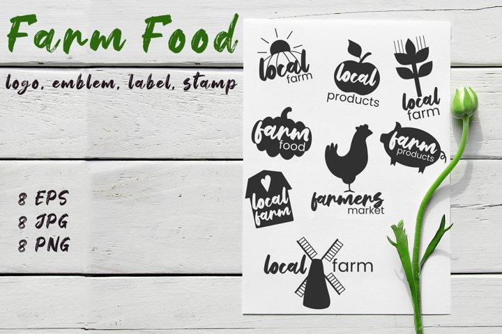 Farm food logo / emblem / label / stamp
