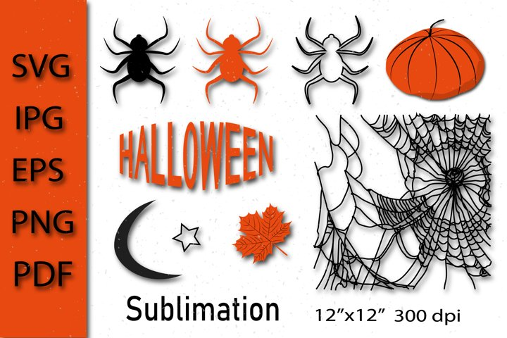 Halloween bundle SVG. Spider SVG, Pumpkin SVG. Sublimation