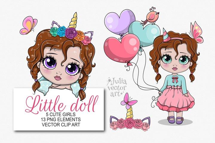 My Little Girl - vector clipart set