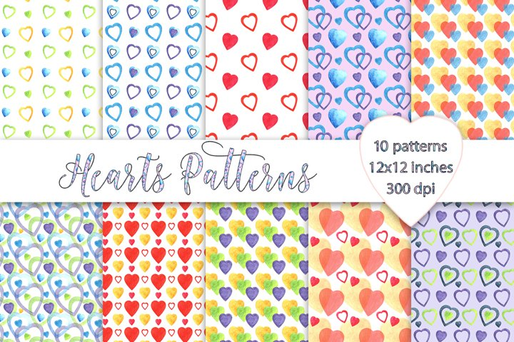 Hearts Patterns, Valentines Day Digital Paper, Watercolor