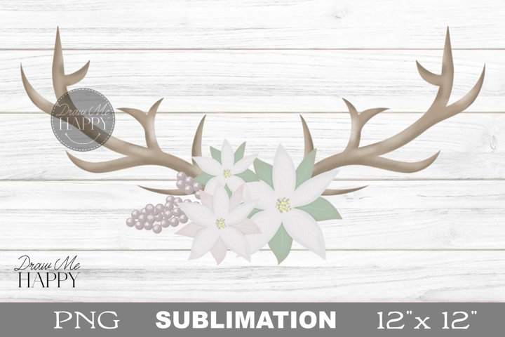 Deer Antlers Clipart, Christmas Antlers Clipart, Poinsettia