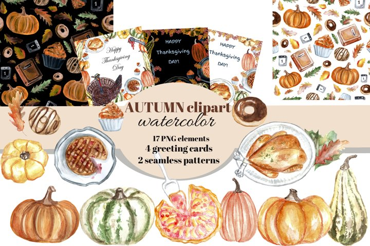 Autumn watercolor clipart set. Thanksgiving day cards.