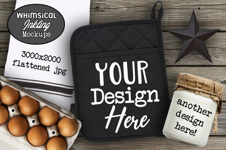 Kitchen Trio-Potholder Mockup