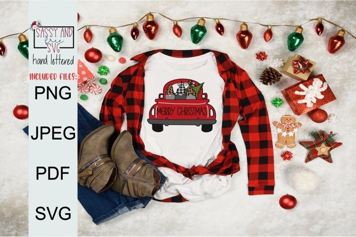 Merry Christmas Truck Sublimation SVG, PNG, & JPEG