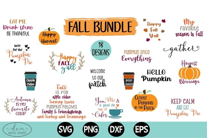 Fall SVG Bundle set of 18 designs SVG PNG DXF EPS