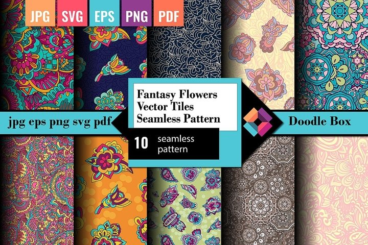 Fantasy Flowers Vector tiles seamless pattern
