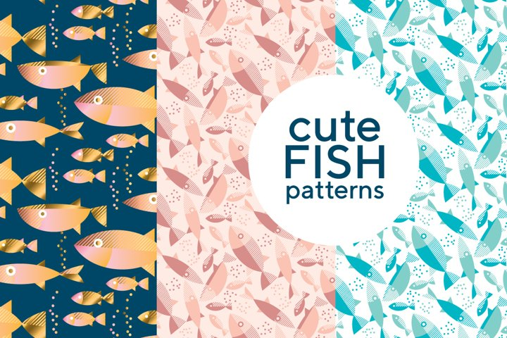 Cute geometric style fish pattern