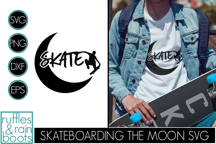 Skateboarding SVG with Jump Off the Crescent Moon Silhouette