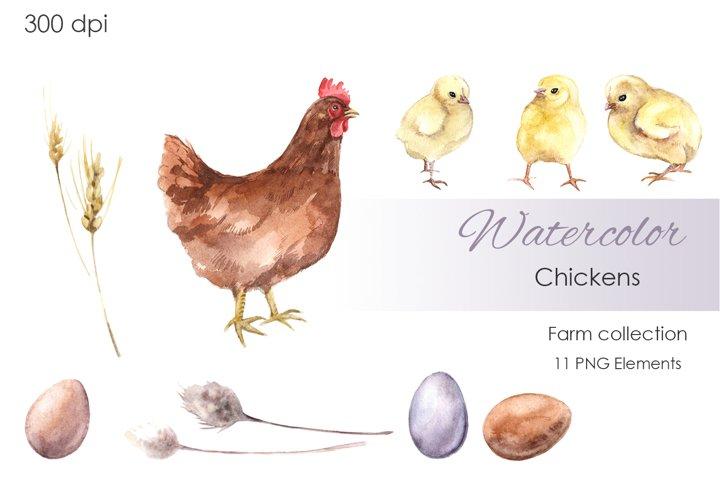 Watercolor Clipart. Farm Clipart. Chickens Clipart.