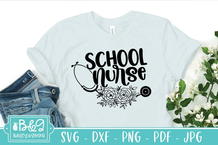 School Nurse Floral Stethoscope SVG File
