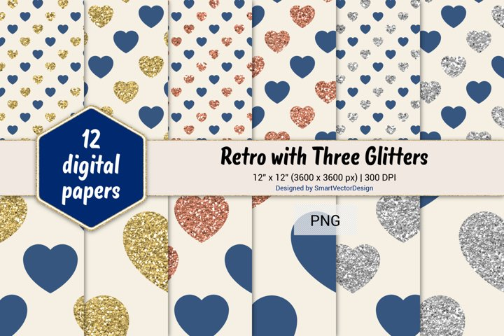 Hearts Retro with Three Glitters Color Combo #75