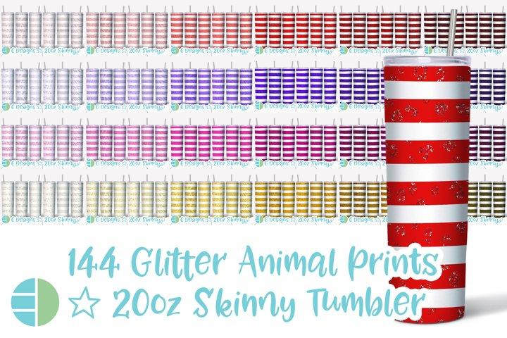 Skinny Tumbler Sublimation Glitter Valentine Animal Print