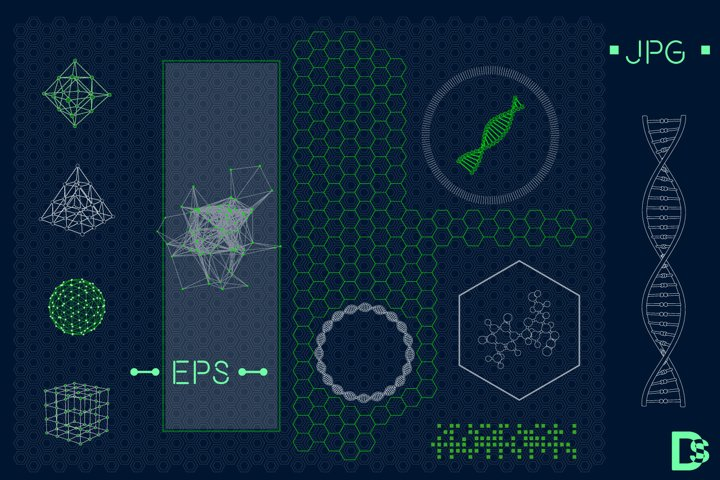 Futuristic HUD interface elements set. Vector illustration.