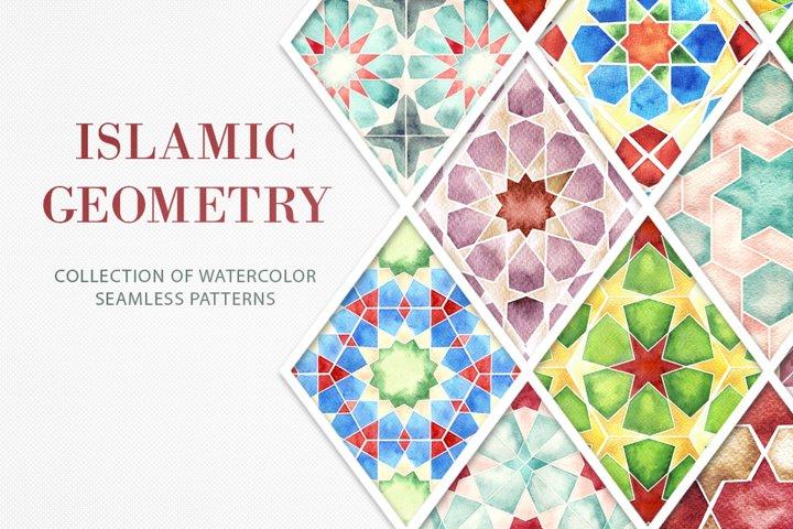 Islamic Geometric Seamless Watercolor Patterns