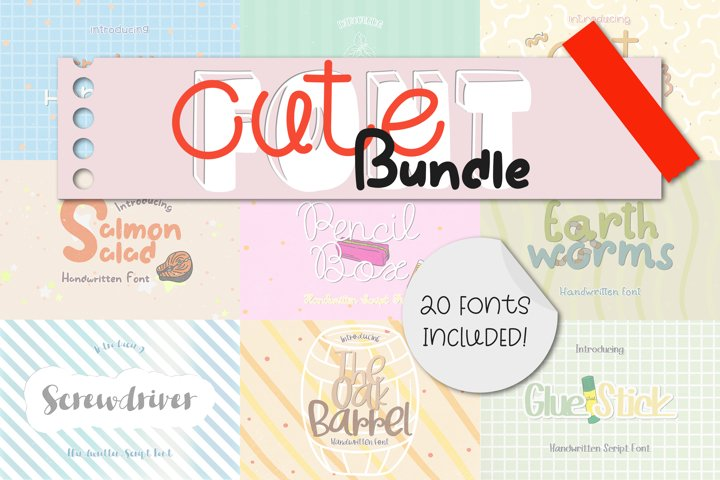 CUTE Font Bundle - 20 Lovely & Quirky Handwritten Fonts