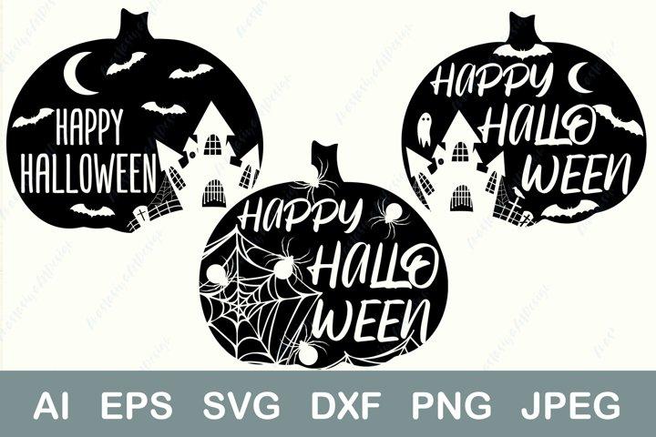 Happy halloween svg, Spider web svg, Pumpkin Haunted house